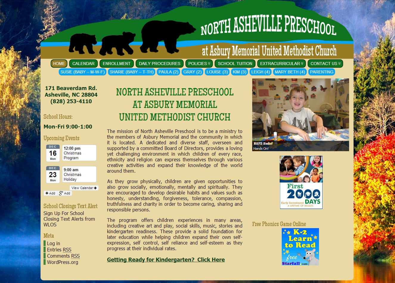 preschool website with calendar