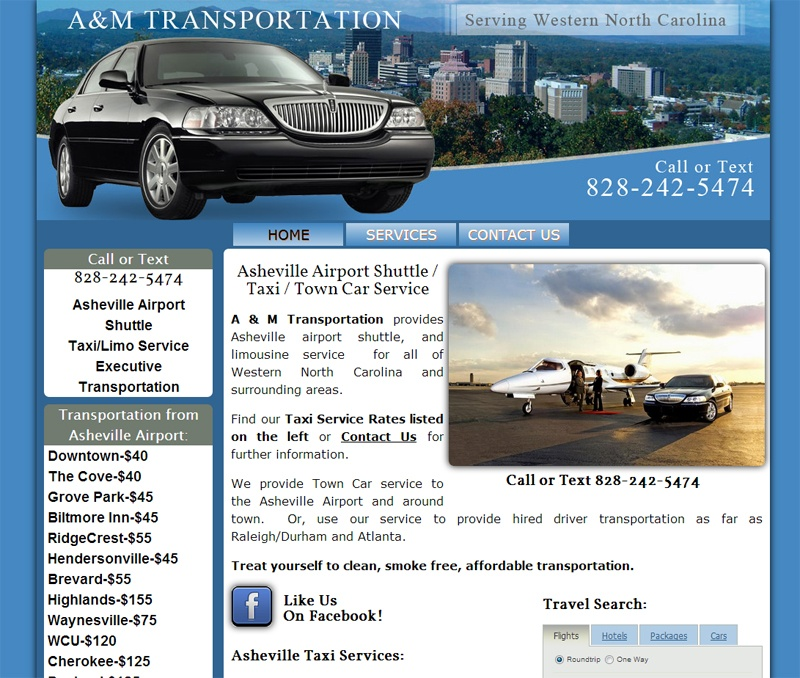 transportation website with travel search