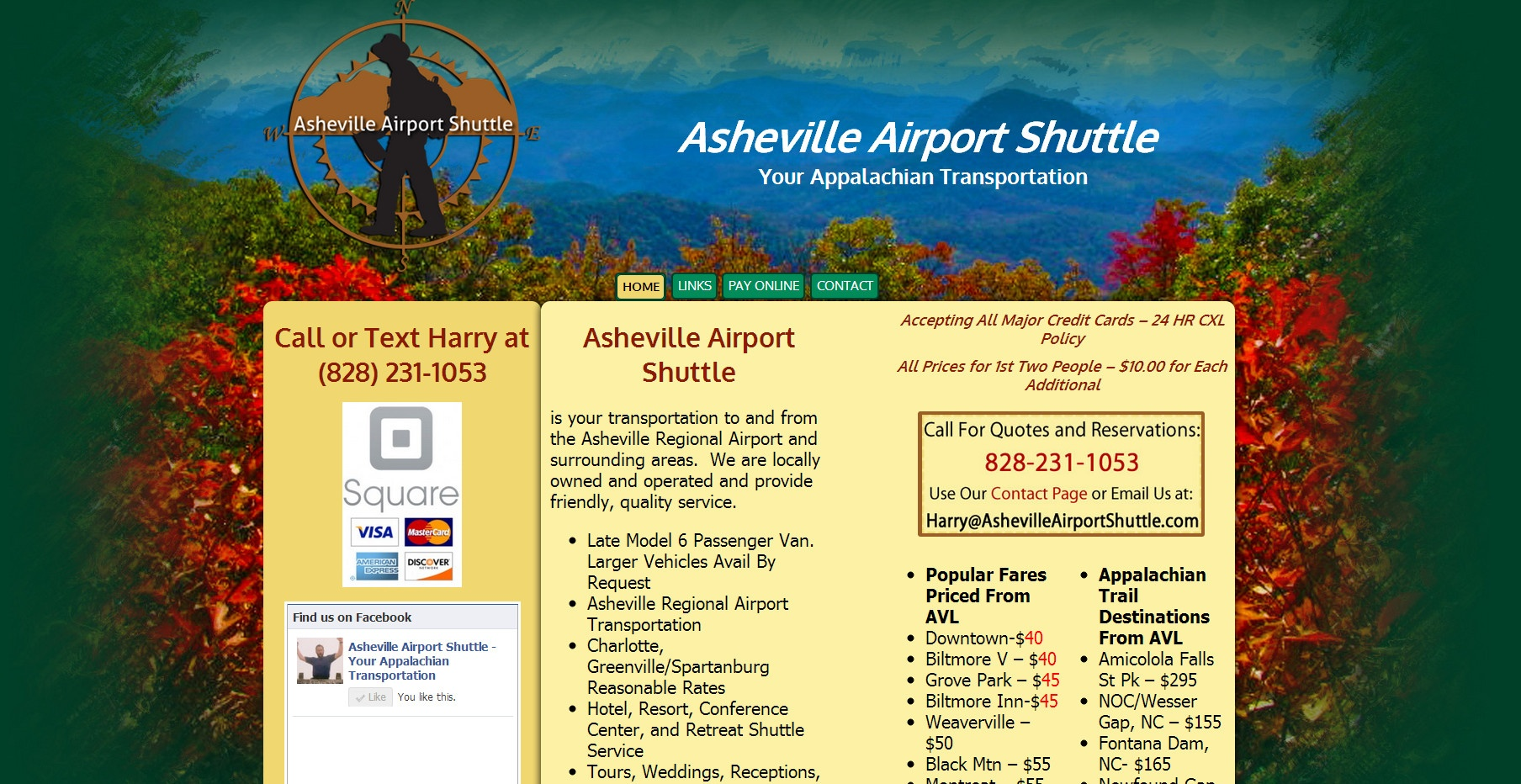 asheville taxi and shuttle service website with rates and facebook scrolling likes